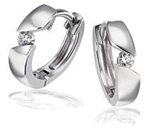 Creolen 925 Sterlingsilber rhodiniert Diamant (0.08 ct) Ohrring