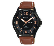 Analog Quarz Uhr mit Leder Armband PJ6091X1