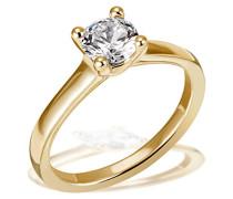Ring Solitär 4er Stotzen Verlobung, Trauung, 750 Gelbgold 1 Brillant Lupenrein weiß 1