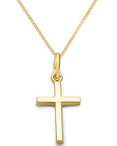 Kette - Halskette Gelbgold 9 Karat/375 Gold Kette mit Kreuz 45 cm