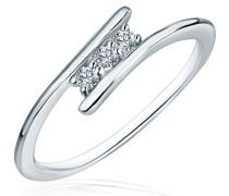 Ring 925 Silber rhodiniert Zirkonia Rundschliff weiß
