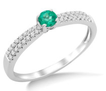 9 Karat (375) Weißgold Smaragd Diamant Verlobungsring SA962R 0.30ct