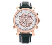 Automatik Armbanduhr von für Männer mit einem echten Diamanten mit Weißem Zifferblatt Analoger Anzeige und Schwarzem Armband aus Leder SK14H037