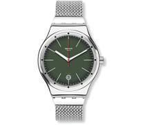 Digital Automatik Uhr mit Edelstahl Armband YIS407GA