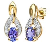 Ohrhänger 375 Gelbgold Diamant 9 karat blau Ovalschliff