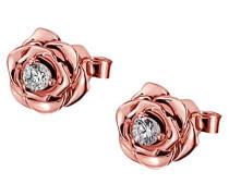 Ohrstecker Lovely Rosè 925 Sterlingsilber vergoldet gesetzt mit 2 weißen Swarovski Zirkonia Ohrringe Schmuck