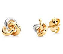 Ohrringe Bicolor Gelbgold/Weißgold 9 Karat / 375 Gold Ohrstecker