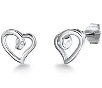 Ohrstecker 925 Silber rhodiniert Diamant (0.01 ct) Rundschliff weiß 60915005