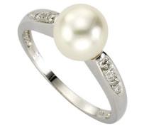Diamonds by Ellen K. Ring 333 Weißgold Perle+Diamant 0.02 Karat W 16 360370230-016