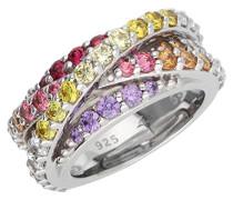 ! Ring 925 Silber Zirkonia mehrfarbig Rundschliff