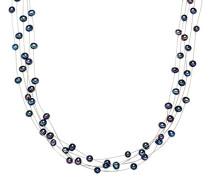 Kette Hochwertige Süßwasser-Zuchtperlen in ca. 6 mm Oval blau 925 Sterling Silber 43 cm - Perlenkette mit echten Perlen Dunkelblau mehrreihig 400370