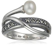 Ring 925 Silber vintage-oxidized Süßwasser-Zuchtperle weiß Markasit Süßwasser-Zuchtperle Weiß 54 (17.2) - L0110R/90/I6/54