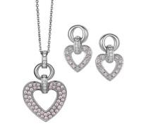 Set: Halskette + Ohrringe 925 Sterling Silber Zirkonia pink SET-5212