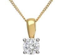 Anhänger mit Kette 9 K Gelbgold Diamant 0