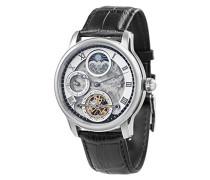 Longitude Shadow ES-8063-01 Armbanduhr mit Automatikgetriebe, silbernes Zifferblatt mit Skelett-Anzeige