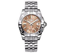 Galactic 36 Automatik Uhr mit Braun Zifferblatt Analog-Anzeige und Silber Edelstahl Armband A3733012/q582/376 A