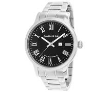 Quartz Armbanduhr von für Männer mit Original Schweizer Uhrwerk mit Schwarzem Zifferblatt Analoger Anzeige und Silberfarbenem Armband aus Edelstahlmit Datumsanzeige mit BSSM208