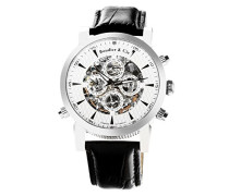 Automatik Armbanduhr von für Männer mit einem echten Diamanten mit Weißem Zifferblatt Analoger Anzeige und Schwarzem Armband aus Leder SK14H054