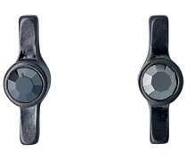 Ohrstecker mattiert Kristall schwarz Rundschliff 1 cm - 261623103