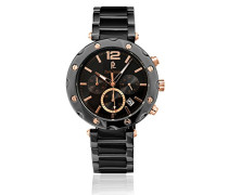 278 C439 – Wochenende Selection – Armbanduhr – Quarz Chronograph – Zifferblatt schwarz Armband Stahl vergoldet schwarz
