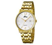 Quarz-Uhr mit weißem Zifferblatt Analog-Anzeige und Armband Edelstahl Vergoldet 18177/1