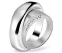 Damen-Ring Duplicity Edelstahl Kristall silber