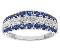 Ring Multi Row Unendlichkeits 9 K 375 Weißgold Diamanten Saphir