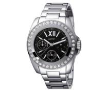 Armbanduhr Rock Silver Black Analog Edelstahl ES102382004