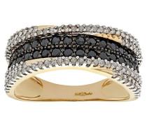 Damen-Ring 9 K 375 Gelbgold 3 Zirkonia 0,45 ct