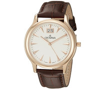 1030.1562 Men'schweizer Uhr Armbanduhr Analog Quarz Leder braun KL101