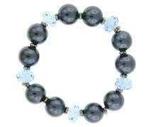 Silber Tone Blau Bead und Graue Perlenimitate Stretch 17 cm