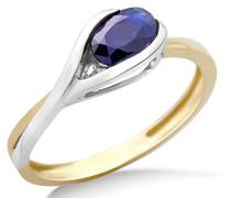 Ring 9 Karat (375) Weiß-/Gelbgold Saphir