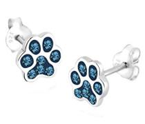 Ohrstecker Pfoten Filigran Haustier 925 Sterling Silber Swarovski Kristall blau