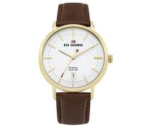 Analog Quarz Uhr mit Leder Armband WBS103TG