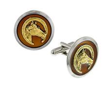 Manschettenknöpfe Gold und Silber Manschettenknöpfe Pferdemotiv rund Emaille Braun