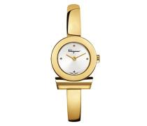Salvatore Ferragamo Gancino Bracelet Quarzuhr mit Silber Zifferblatt und Gelbgold Armreif Armband FQ5040013