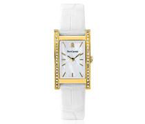 007 G590 – Week End Basic Armbanduhr – Quarz Analog – Ziffernblatt Perlmutt – Armband Leder Weiß