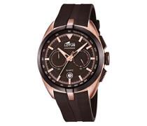 Quarz-Uhr mit Braun Zifferblatt Chronograph-Anzeige und braun rubber Strap 18190/1