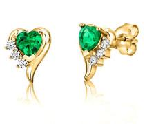 Ohrstecker 925 Sterling- Silber Herzschliff Grün Synthetischer Smaragd