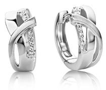 Creolen/Formvollendete Ring-Ohrringe aus 925 Sterling Silber mit 14 farblosen Zirkonia-Steinen/Ohrschmuck 6