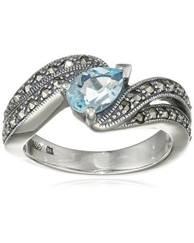 Ring 925 Silber vintage-oxidized Topas blau Markasit 60 (19.1) - L0033R/90/W4/60