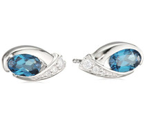 Ohrstecker 925 Sterling-Silber Ovalschliff Blau Topas