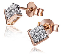 Ohrstecker 585 Rotgold 18 Diamanten 0
