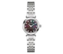 Diamond 96S169 - Designer-Armbanduhr - Edelstahl - schwarzes Perlmutt-Zifferblatt