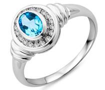 Ring 375 Weißgold Blau Topas umrahmt von Brillanten
