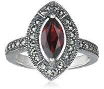 Ring 925 Silber vintage-oxidized Granat rot Markasit 54 (17.2) - L0075R/90/M2/54