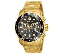 Quarzuhr mit schwarzem Zifferblatt Chronograph-Anzeige und Gold Armband Edelstahl vergoldet 80064