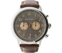 Chronograph Quarz Uhr mit Leder Armband P10013
