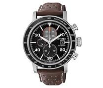 Chronograph Quarz Uhr mit Leder Armband CA0641-24E