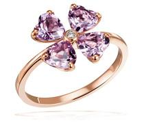 Damenring lovely Flower 375 Rosègold 4 Amethyst pink facettiert herzförmig 1 Brillant